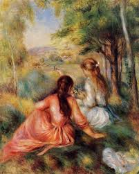 picking flowers also known as in the field pierre auguste renoir circa