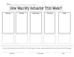 Red Yellow Green Behavior Chart Weekly Behavior Chart Red Yellow Green Lights