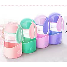 350ml cute rabbit ear shape glass drinking water bottle for children dark purple 2