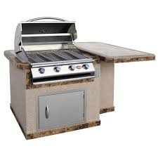 stucco grill island with tile top and 4 burner gas grill in