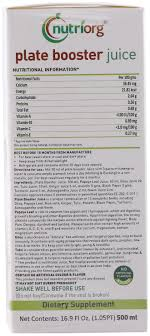 Booster Juice Nutrition Chart Nutriorg Plate Booster Juice 500 Ml