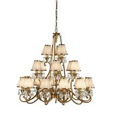 oksana large 21 light traditional antique brass chandelier with beige shades
