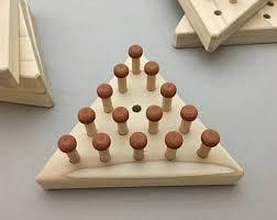 Wooden Peg Solitaire Game Peg solitaire Etsy 46