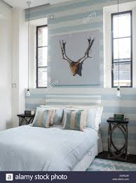 Pale Blue Bedroom Striped White And Pale Blue Wall In Bedroom With Matching