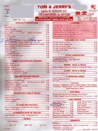 Tom & Jerry's Restaurant Menu, Menu v reštaurácii Tom & Jerry's Restaurant,  Machesney Park, Rockford