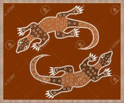 a ilration based on aboriginal style of dot painting depicting waran included jpg and eps file