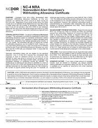 Withholding Allowance Chart Form Nc 4 Nra Nonresident Alien North Carolina Department Of