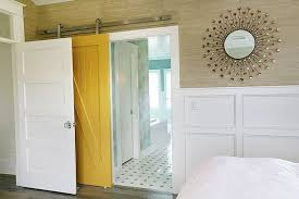 yellow barn door decorating ideas for bathroom