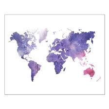 World Map Posters Purple Watercolor World Map Posters