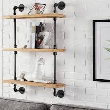 black metal pipe wall mount bookshelf