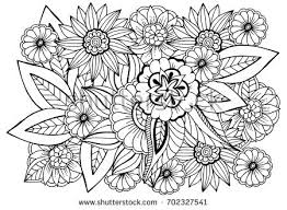 black and white flower pattern for coloring book doodle fl drawing art therapy