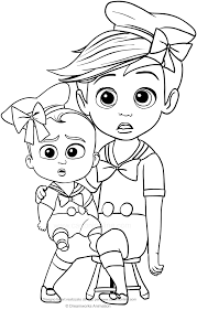 Tim And Boss Baby With Sailor Suit Coloring Page