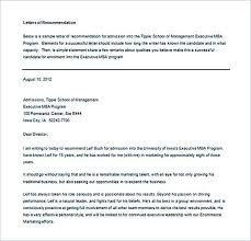 Re mendation Letter Example Word