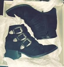 Rue21 Black Suede Ankle Boots With Silver Buckle Accents