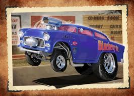 Hot Rod Cartoon Art Gallery | 55 Chevy Gasser RedHotTiki by ...