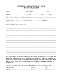 Free 10 Sample Witness Statement Forms In Pdf Word
