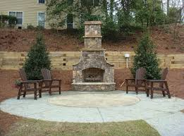 patio designs with fireplace. Appealing Small Circular Patio Design With Fireplace And Wooden Furniture Designs R