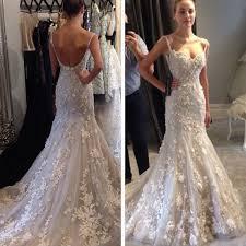 charming spaghetti straps mermaid wedding dress bridal gown with