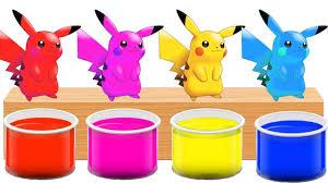Bathing Colors Fun L Pikachu Pokemon Go L Finger Family Colors