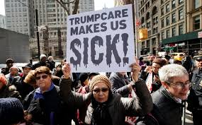 Image result for pictures of meeting protest trumpcare