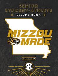 Mizzou Graphic Design Program 2017 2018 Mizzou Athletics Senior Resume Book By Kim Bishop