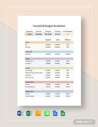 Household Budget Sample Worksheet Sample Household Budget Worksheet 9 Examples In Word Pdf
