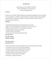 Teaching Resume Template Free Stunning 28 Teacher Resume Templates Free Sample Example Format Download In