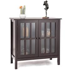 storage buffet cabinet glass door sideboard console table server display brown 1 of 12free