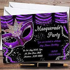Black And Purple Invitations Amazon Com Purple Black Mask Masquerade Ball