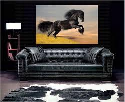giclee print galloping black horse canvas wall art