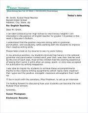 Letter Templates For Teachers English Teacher Cover Letter Sample