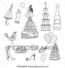 結婚式 セット の かわいい 手 引かれる アイコン クリップアート