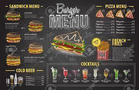Design Fast Food Menu Vintage Chalk Drawing Burger Menu Design Fast Food Menu