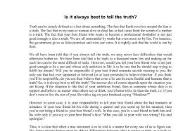 the truth is important essay telling the truth is important essay