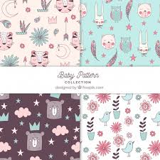 Baby Patterns Interesting Baby Patterns Collection With Cute Elements Vector Free Download
