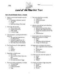 the kite runner question matching and multiple choice test  lord of the flies unit test and key essay questionsunit