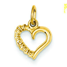 14k yellow gold i love you heart charm pendant msrp 109
