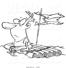Vector of a Cartoon Man Adrift on a Log Raft - Coloring Page ...