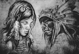 Indiánské ženy Tetování Ilustrace Stock Fotografie Outsiderzone