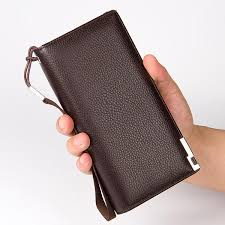 men pu leather clutch bag handbag wrist bag organizer checkbook wallet card case black cod