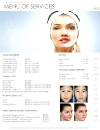 Spa Menu Of Services Template Menu Of Services Template