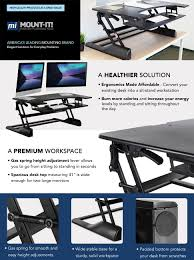 mount it standing desk sit stand desk converter 41 inch wide for laptop desktop height adjule ergonomic gas spring arm free standing