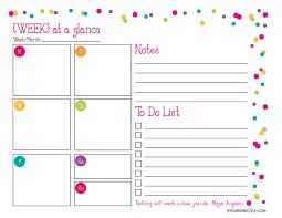 Week At A Glance Calendar Template Organizational Printables Daily Weekly Week At A Glance