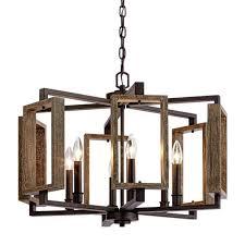 6 light aged bronze pendant light rustic wood accents design home lighting decor