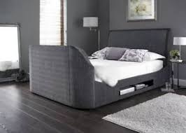 king size tv bed. Perfect Bed Image Is Loading MaximusCharcoalFabricKingSizeTVBedmade To King Size Tv Bed L