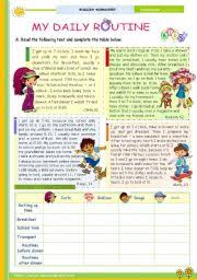 english exercises daily routines  my daily routine the 1st 45 minute lesson of 2 reading leading to writing for elementary and lower intermediate st level elementary age 9 12