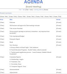 agenda of a meeting format 4 board meeting agenda template free download