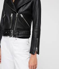 women s balfern leather biker jacket black image 5