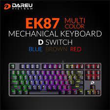 Bàn phím cơ Gaming DAREU EK87 - Black (MULTI-LED, Blue/ Brown/ Red D switch)