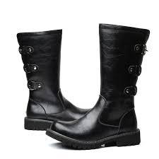 men s black leather knee high renaissance long zipper three buckles stylish boots